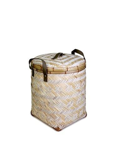 Kanca Ev El Yapımı Doğal Malzemeden Bambu Beyaz Örgü Desenli, Deri Saplı, Sert Hasırdan Kapaklı Çamaşır Sepeti, Küçük Beyaz